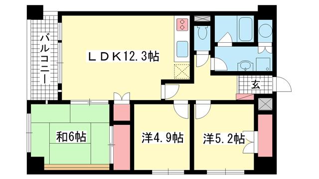 物件番号: 1025870749 万葉ハイツ元町  神戸市中央区下山手通3丁目 3LDK マンション 間取り図