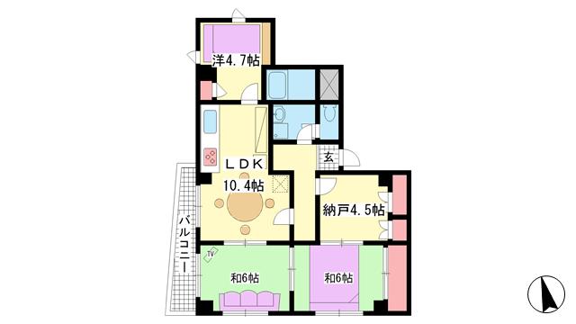 物件番号: 1025870754 新神戸サンクレバー  神戸市中央区生田町1丁目 3SLDK マンション 間取り図