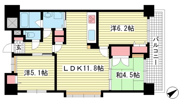 物件番号: 1025870794 エスリード大倉山公園  神戸市中央区楠町6丁目 3LDK マンション 間取り図