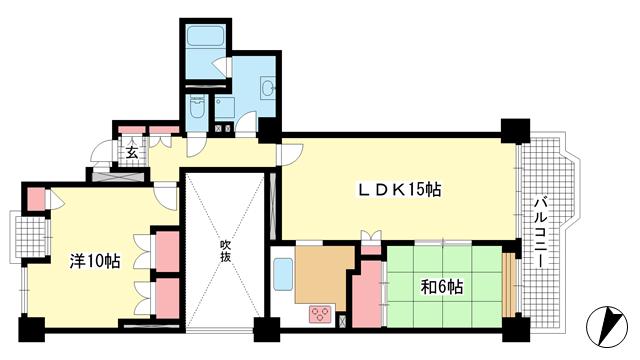 物件番号: 1025870798 ポートピアプラザB棟  神戸市中央区港島中町6丁目 2LDK マンション 間取り図