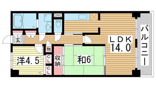 物件番号: 1025870839 新神戸ネクステージ  神戸市中央区生田町3丁目 2LDK マンション 間取り図