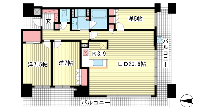物件番号: 1025870986 ベリスタ神戸旧居留地  神戸市中央区海岸通 3LDK マンション 間取り図