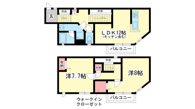 物件番号: 1025871004 セゾン・ド・オカモト  神戸市東灘区西岡本3丁目 2LDK マンション 間取り図