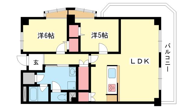 物件番号: 1025871016 山手ダイヤハイツ  神戸市中央区下山手通5丁目 2LDK マンション 間取り図