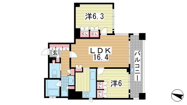 物件番号: 1025871032 リーガル神戸中山手通り  神戸市中央区中山手通2丁目 2LDK マンション 間取り図