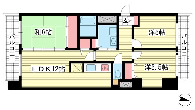 物件番号: 1025871057 パルシオ三宮フラワーロード  神戸市中央区浜辺通6丁目 2LDK マンション 間取り図