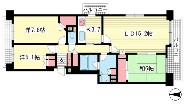 物件番号: 1025871058 パーク・ハイム神戸熊内町  神戸市中央区熊内町5丁目 3LDK マンション 間取り図