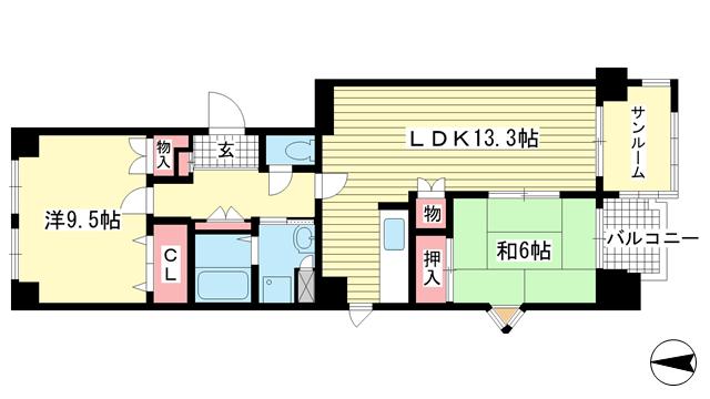 物件番号: 1025871075 三宮東ハイツ  神戸市中央区二宮町1丁目 2LDK マンション 間取り図