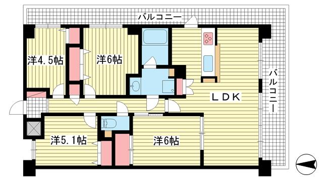 物件番号: 1025871128 ステイツ神戸籠池通  神戸市中央区籠池通2丁目 3LDK マンション 間取り図