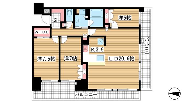 物件番号: 1025871131 ベリスタ神戸旧居留地  神戸市中央区海岸通 3LDK マンション 間取り図