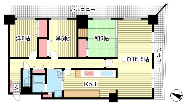物件番号: 1025871170 ピフレ新長田  神戸市長田区若松町4丁目 3LDK マンション 間取り図