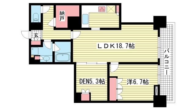 物件番号: 1025871183 アーバンライフ神戸三宮ザ・タワー  神戸市中央区加納町6丁目 1SLDK マンション 間取り図