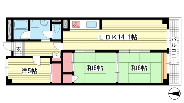 物件番号: 1025871254 萬利ハイツ  神戸市中央区熊内町5丁目 3LDK マンション 間取り図