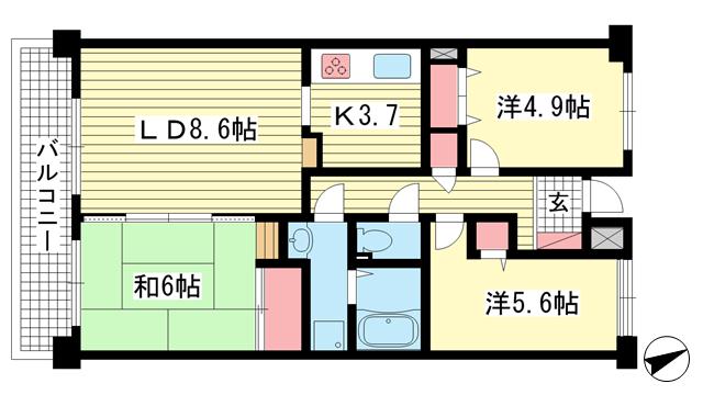 物件番号: 1025871306 ウイング神戸  神戸市長田区御蔵通2丁目 3LDK マンション 間取り図