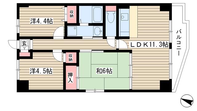 物件番号: 1025871371 エテルノ神戸  神戸市中央区国香通3丁目 3LDK マンション 間取り図