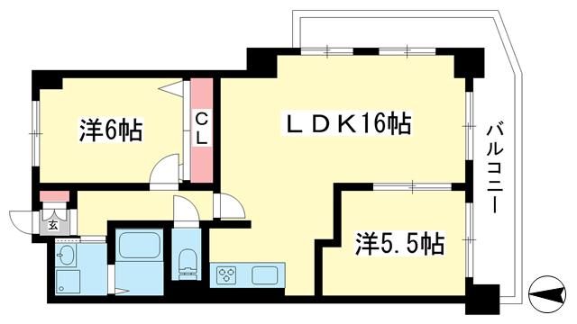 物件番号: 1025871381 サカエハイツ六甲  神戸市灘区五毛通1丁目 2LDK マンション 間取り図