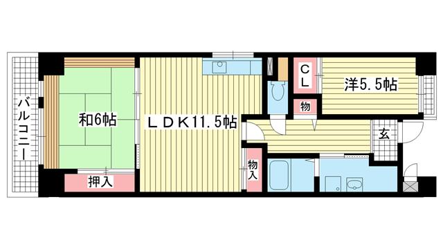 物件番号: 1025871388 サンヴェール神戸  神戸市中央区古湊通2丁目 2LDK マンション 間取り図