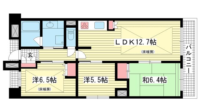 物件番号: 1025871428 リベルタ北野  神戸市中央区加納町2丁目 2LDK マンション 間取り図