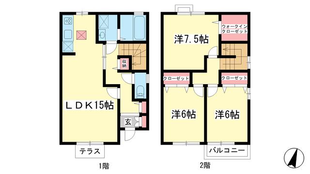 物件番号: 1025871431 六甲ビュート  神戸市灘区篠原北町3丁目 3LDK テラスハウス 間取り図