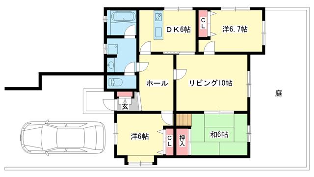 物件番号: 1025871432 ロイヤルハイツ篭池  神戸市中央区篭池通1丁目 3LDK マンション 間取り図