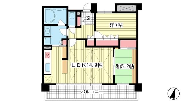 物件番号: 1025871441 パークタワー新神戸  神戸市中央区熊内町7丁目 2LDK マンション 間取り図