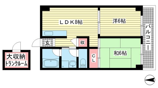 物件番号: 1025871445 タウンハウス熊内  神戸市中央区熊内町4丁目 2LDK マンション 間取り図