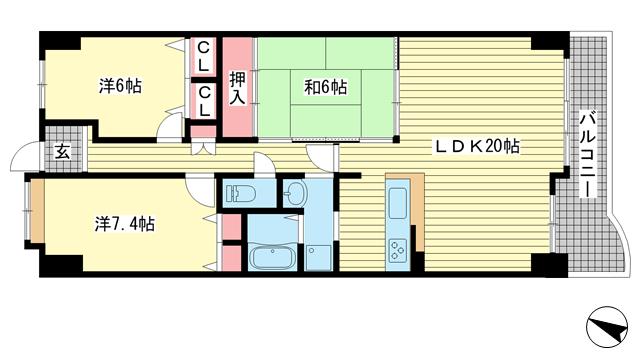 物件番号: 1025871501 ドルミハイツ垂水ⅢC棟ディオフェルティ学園都市  神戸市垂水区学が丘3丁目 3LDK マンション 間取り図