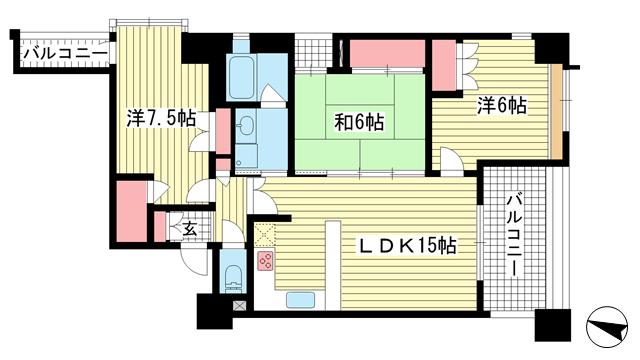 物件番号: 1025871570 アルス神戸ハーバースクエア  神戸市中央区中町通3丁目 3LDK マンション 間取り図