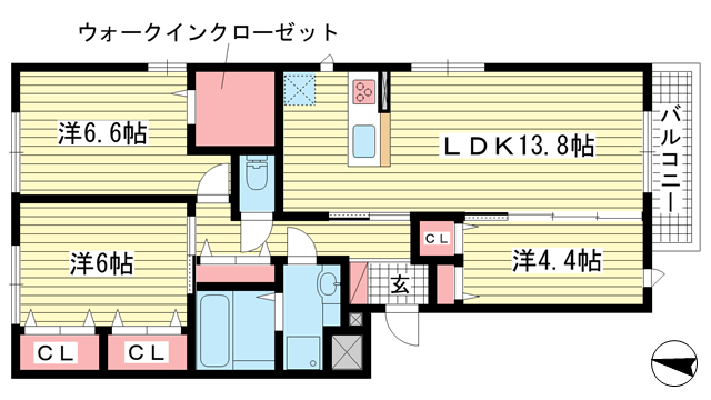 物件番号: 1025871594 甲南コルン  神戸市東灘区森南町3丁目 3LDK マンション 間取り図