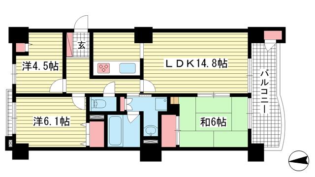 物件番号: 1025871601 ラ・トゥール六甲  神戸市灘区弓木町4丁目 3LDK マンション 間取り図