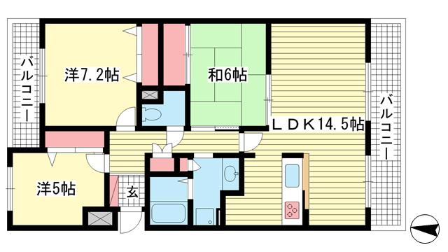 物件番号: 1025871624 アマビリタ アパートメント  神戸市東灘区西岡本5丁目 3LDK マンション 間取り図