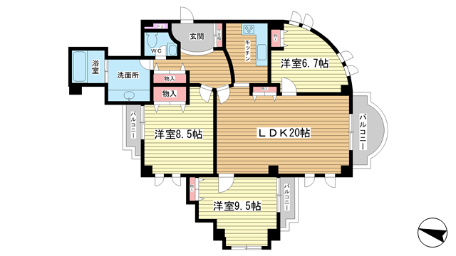 物件番号: 1025871650 オリバー西岡本  神戸市東灘区西岡本4丁目 3LDK マンション 間取り図