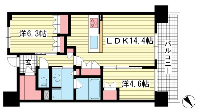物件番号: 1025871689 パークホームズ神戸ザレジデンス  神戸市中央区栄町通7丁目 2LDK マンション 間取り図