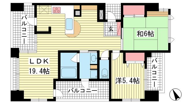 物件番号: 1025871695 ワコーレ新神戸カデンツァ  神戸市中央区布引町2丁目 2LDK マンション 間取り図