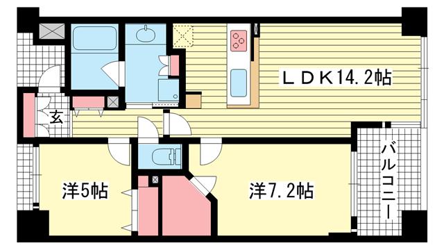 物件番号: 1025871716 ワコーレ神戸北野セリュックス  神戸市中央区加納町2丁目 2LDK マンション 間取り図