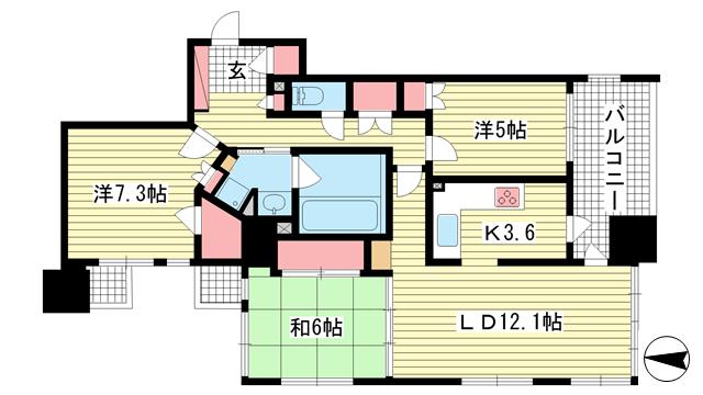 物件番号: 1025871727 ライオンズマンション神戸栄町通  神戸市中央区栄町通2丁目 3LDK マンション 間取り図