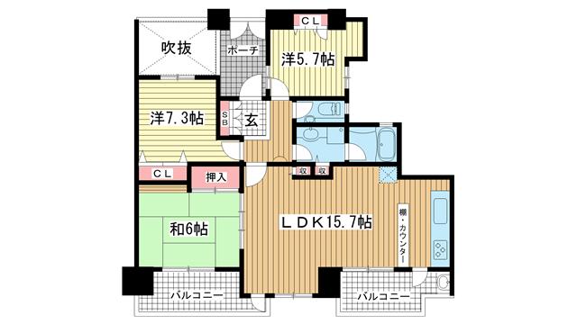 物件番号: 1025871738 ル・コラージュ異人館通ドミシール  神戸市中央区山本通3丁目 3LDK マンション 間取り図