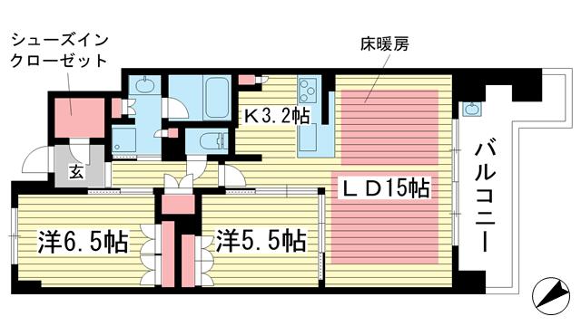 物件番号: 1025871746 パークホームズ神戸ザレジデンス  神戸市中央区栄町通7丁目 2LDK マンション 間取り図