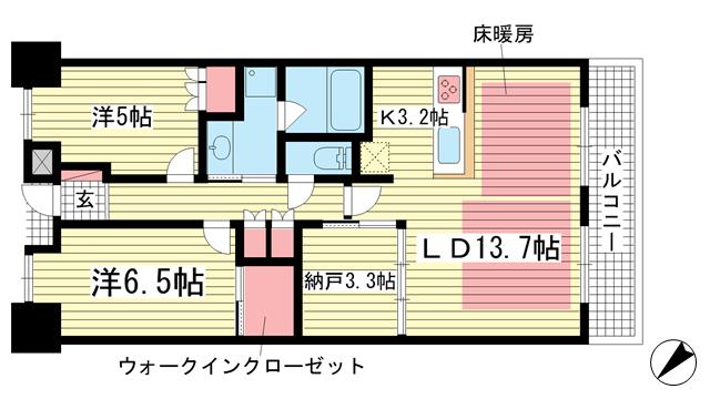 物件番号: 1025871754 パークホームズ神戸ザレジデンス  神戸市中央区栄町通7丁目 2SLDK マンション 間取り図