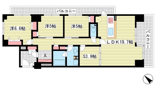物件番号: 1025871815 グレイスビュー六甲山手  神戸市灘区桜ヶ丘町 3SLDK マンション 間取り図