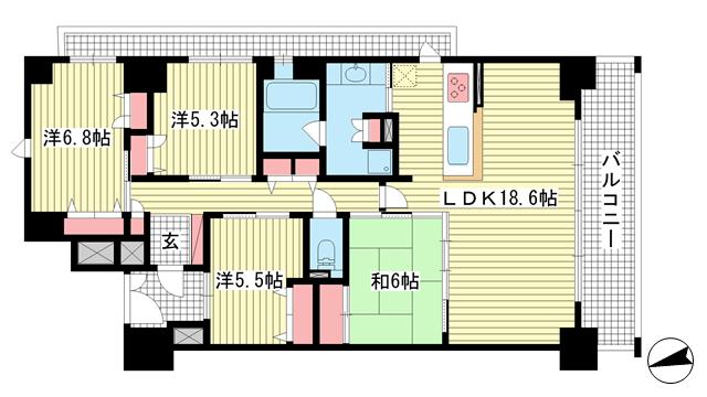 物件番号: 1025871840 グレイスビュー六甲山手  神戸市灘区桜ヶ丘町 4LDK マンション 間取り図