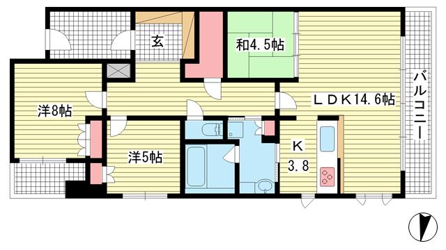 物件番号: 1025871851 プラウド六甲赤松町  神戸市灘区赤松町2丁目 3LDK マンション 間取り図