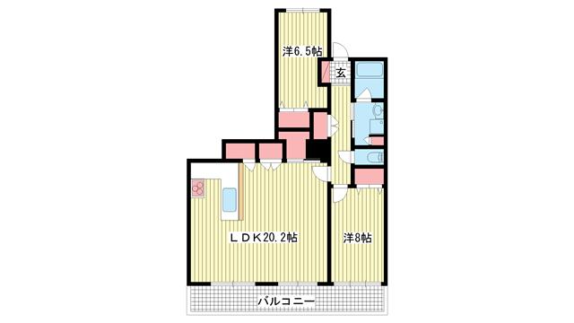 物件番号: 1025871876 ワコーレ神戸灘タワー  神戸市灘区灘北通10丁目 2LDK マンション 間取り図