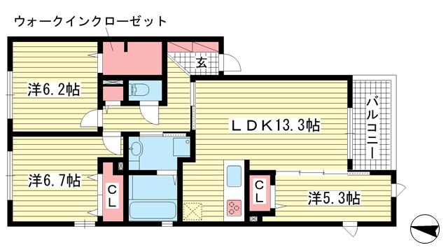 物件番号: 1025871878 甲南コルン  神戸市東灘区森南町3丁目 3LDK マンション 間取り図