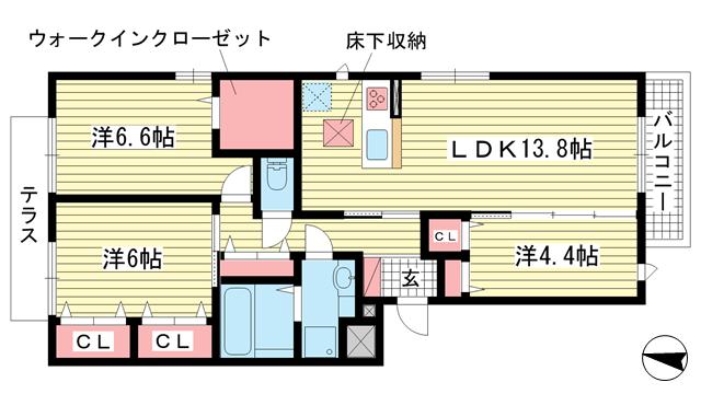 物件番号: 1025871879 甲南コルン  神戸市東灘区森南町3丁目 3LDK マンション 間取り図