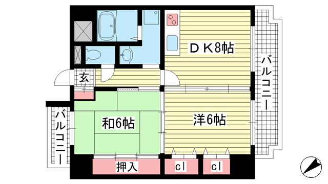 物件番号: 1025871925 ル・パレ神戸西館  神戸市兵庫区新開地4丁目 2LDK マンション 間取り図