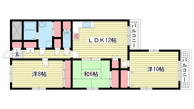 物件番号: 1025871952 セントヒル  神戸市東灘区住吉山手2丁目 3LDK マンション 間取り図