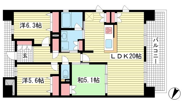 物件番号: 1025871968 ピアフェスタ青木駅前  神戸市東灘区青木6丁目 3LDK マンション 間取り図