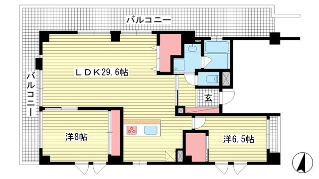 物件番号: 1025871970 ウエストヒル御影城ノ前  神戸市東灘区御影2丁目 3LDK マンション 間取り図