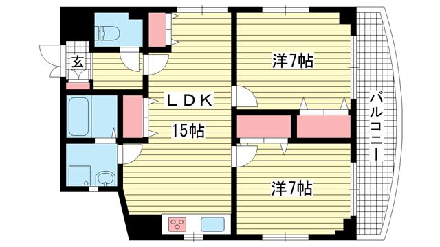 物件番号: 1025871986 セイシェル神戸  神戸市中央区元町通5丁目 2LDK マンション 間取り図